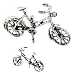 7.87gms bicycle bike charm solid 925 silver miniature collectible a82259