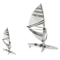 6.45gms ship boat bali style solid 925 silver miniature collectible a82263