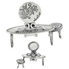 12.24gms dressing table chair solid 925 silver miniature collectible a82266