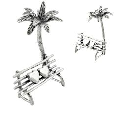 12.48gms beach bench coconut tree 925 silver miniature collectible a82296