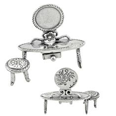 12.63gms 925 silver miniature dressing table chair gift collectible a82305