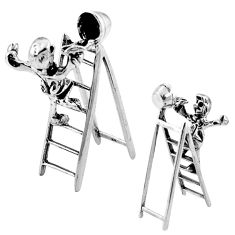 15.48gms boy ladder holiday gift solid 925 silver miniature collectible a82325