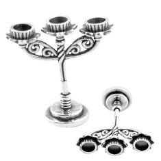 9.47gms three candle stand style solid 925 silver miniature collectible a82332