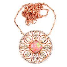 5.84cts pink australian opal (lab) topaz 925 silver 14k gold necklace a62108
