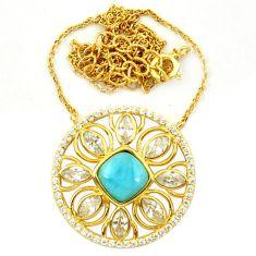 Natural blue larimar topaz 925 sterling silver 14k gold necklace a63384