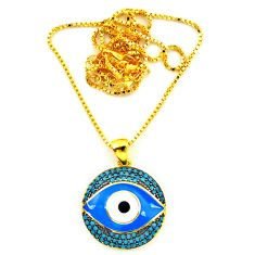 Blue evil eye talismans turquoise 925 silver 14k gold necklace jewelry a64180