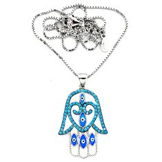 Blue evil eye talismans turquoise 925 silver hand of god hamsa necklace a64181