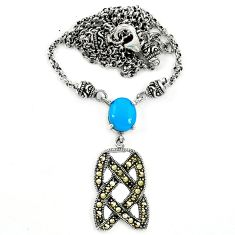 Blue sleeping beauty turquoise marcasite 925 silver necklace a64829