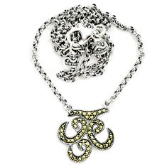 Swiss marcasite 925 sterling silver necklace jewelry a64831