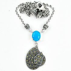 Blue sleeping beauty turquoise marcasite 925 silver necklace a64862