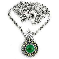 Natural green chalcedony marcasite 925 sterling silver necklace a64868
