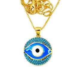 925 silver blue evil eye talismans turquoise 14k gold necklace jewelry a66213