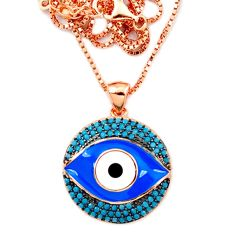 Blue evil eye talismans turquoise 925 silver rose gold necklace a66215