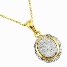 4.64cts silver druzy round 925 sterling silver 14k gold necklace jewelry a93185