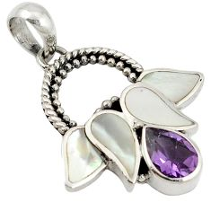 Natural purple amethyst pearl 925 sterling silver flower pendant jewelry a20046