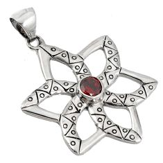 Natural mozambique red garnet 925 sterling silver flower pendant jewelry a20060