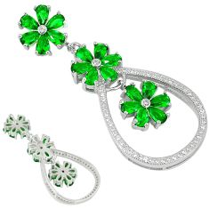 Green russian nano emerald topaz 925 sterling silver flower pendant a29683