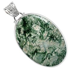 Natural green moss agate oval shape 925 sterling silver pendant jewelry a30747