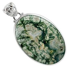 Natural green moss agate oval 925 sterling silver pendant jewelry a30748