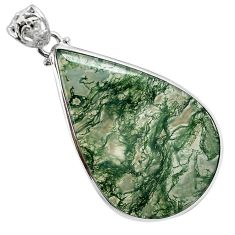 Natural green moss agate pear 925 sterling silver pendant jewelry a30749