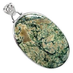 Natural green moss agate oval 925 sterling silver pendant jewelry a30750