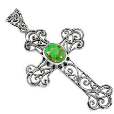 Green copper turquoise 925 sterling silver holy cross pendant jewelry a30756