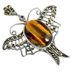 Natural brown tiger's eye swiss marcasite 925 silver dragonfly pendant a30951