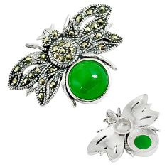 Green jade marcasite 925 sterling silver honey bee pendant jewelry a31090