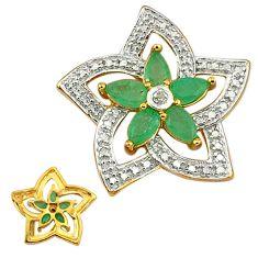 925 silver natural diamond green emerald 14k gold flower pendant a31223