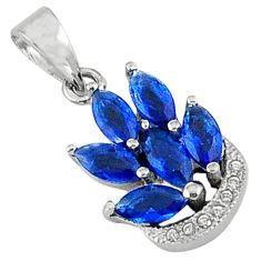 Blue sapphire quartz white topaz 925 sterling silver pendant jewelry a32298