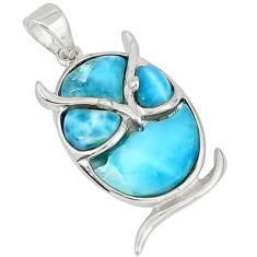 Natural blue larimar fancy 925 sterling silver owl pendant jewelry a32933