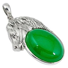 925 sterling silver green jade oval shape horse pendant jewelry a33858