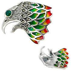 Art nouveau green emerald marcasite enamel 925 silver brooch pendant a36409
