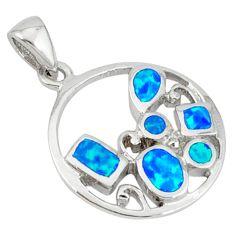 Blue australian opal (lab) enamel 925 sterling silver pendant jewelry a36682