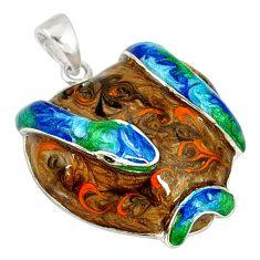 925 sterling silver multi color enamel snake pendant jewelry a37012