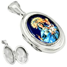 Multi color mother baby love cameo 925 silver locket pendant jewelry a38304