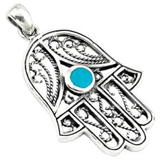 Fine green turquoise enamel 925 silver hand of god hamsa pendant a38400