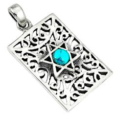 Fine green turquoise enamel 925 silver star of david pendant jewelry a38404