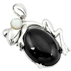 Natural black onyx pearl 925 sterling silver frog pendant jewelry a38974