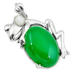 925 sterling silver green jade pearl round frog pendant jewelry a38980