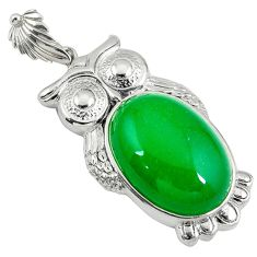 Green jade oval 925 sterling silver owl pendant jewelry a39003
