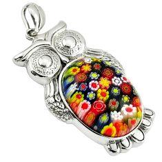 Multi color italian murano glass 925 sterling silver owl pendant a39018