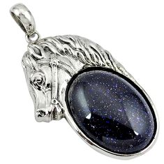 Natural blue goldstone 925 sterling silver horse pendant jewelry a39022