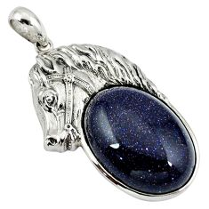 Natural blue goldstone 925 sterling silver horse pendant jewelry a39026