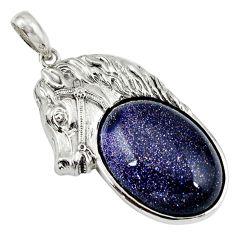 925 sterling silver natural blue goldstone oval horse pendant jewelry a39027
