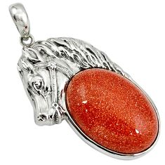 Natural brown goldstone 925 sterling silver horse pendant jewelry a39029