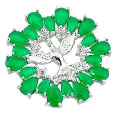 Green emerald quartz topaz 925 sterling silver birds pendant jewelry a39447