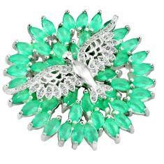 Green emerald quartz topaz 925 sterling silver birds pendant jewelry a39465