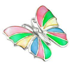 Multi color blister pearl enamel 925 silver butterfly pendant a39670