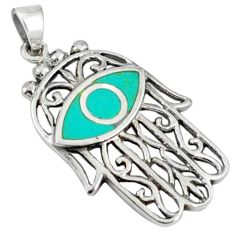 Fine green turquoise enamel 925 silver hand of god hamsa pendant a40093